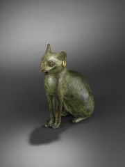 Bronze seated cat