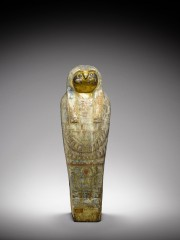 Egyptian polychrome wood falcon sarcophagus