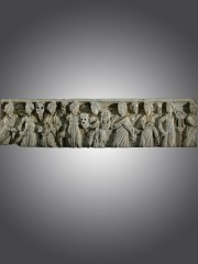 ROMAN MARBLE SARCOPHAGUS PANEL WITH MUSES