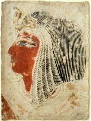 Seti I wearing a wig and the sacred uraeus